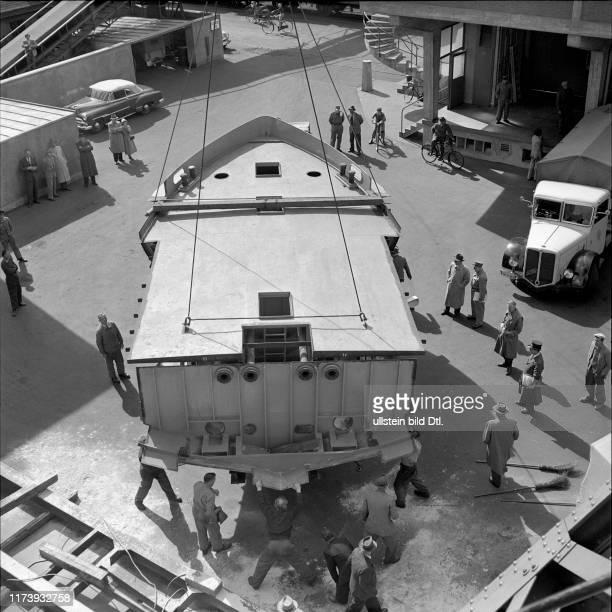 Ship hull Lake Bienne loading in the Basle rhine port 1953
