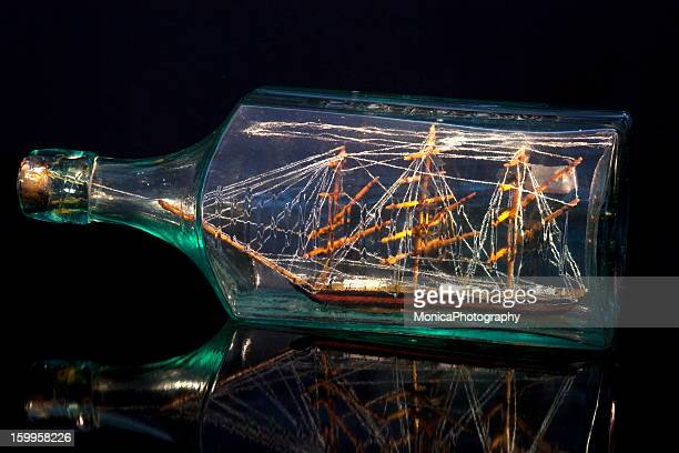 ship in a bottle - ship in a bottle stock pictures, royalty-free photos & images