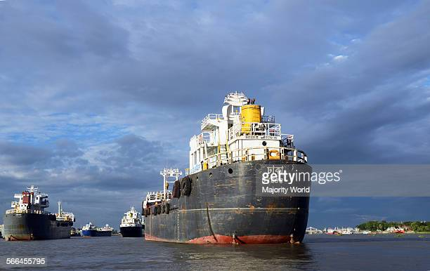 Ship in Karnaphuli river, Chittagong, Bangladesh. July 1, 2012.