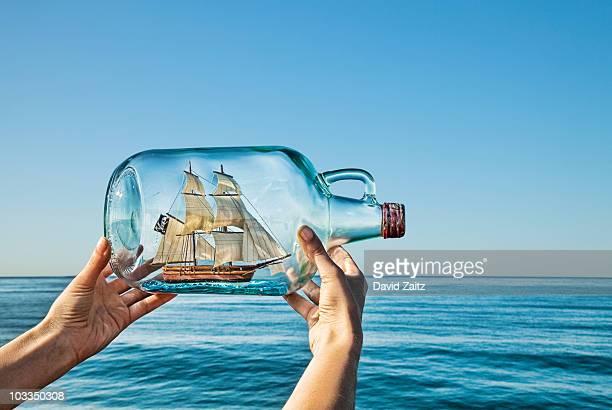 Ship in ocean (in bottle)