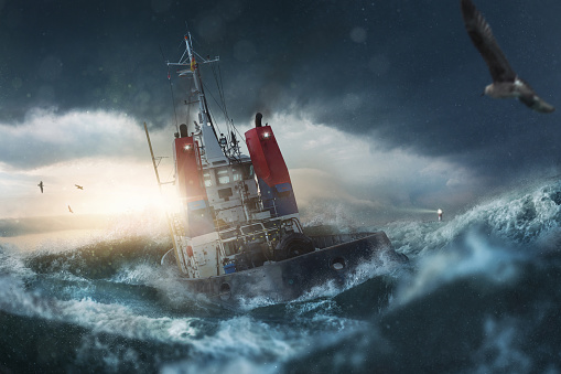 Ship in storm on the sea 989429846