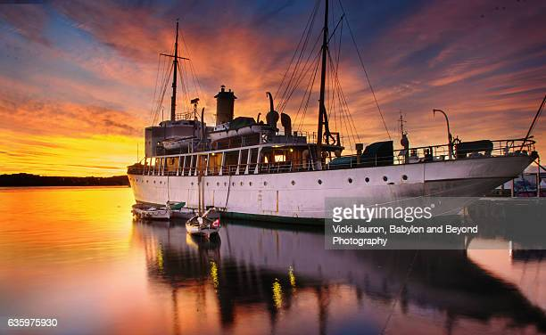 Ship in the Harbour at Dawn, Halifax Harbour, Nova Scotia, Canada