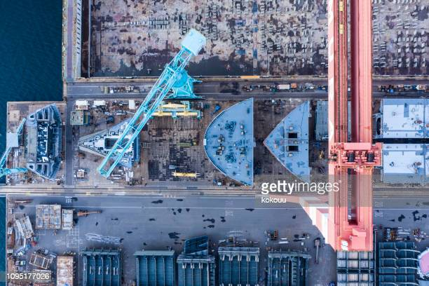 a ship is being built at the shipyard - shipyard stock pictures, royalty-free photos & images