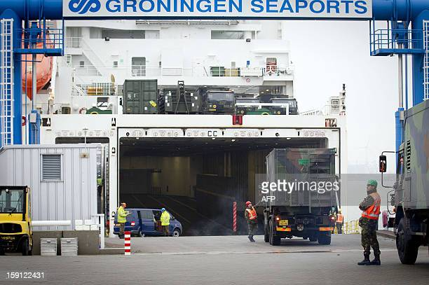 A ship is loaded with Dutch Patriot defence missiles in the Eemshaven in Groningen The Netherlands on January 8 2013 The missiles will be shipped to...