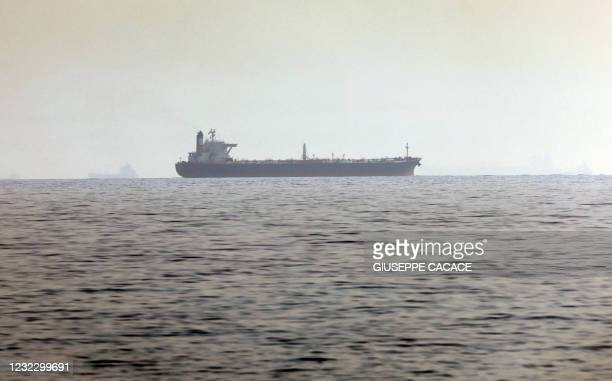 Ship is pictured off the coast of Fujairah in the United Arab Emirates on April 14, 2021. - An Israeli-operated ship was attacked off the UAE...