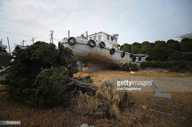 Ship is washed onto the ground on March 20, 2011 in Kashima, Ibaraki, Japan. The 9.0 magnitude strong earthquake struck offshore on March 11 at...
