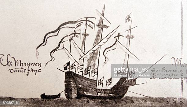 Ship of Sir Francis Drake an English sea captain privateer navigator slaver and politician of the Elizabethan era Dated 16th Century