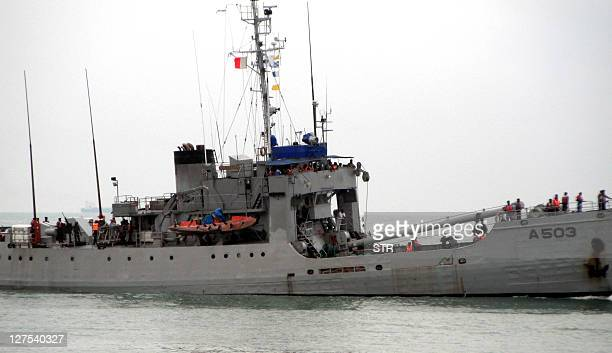 A ship of the Nigerian navy one of three ships taking part in a joint counterpiracy patrol by the Nigerian and Benin navies patrols the sea off the...