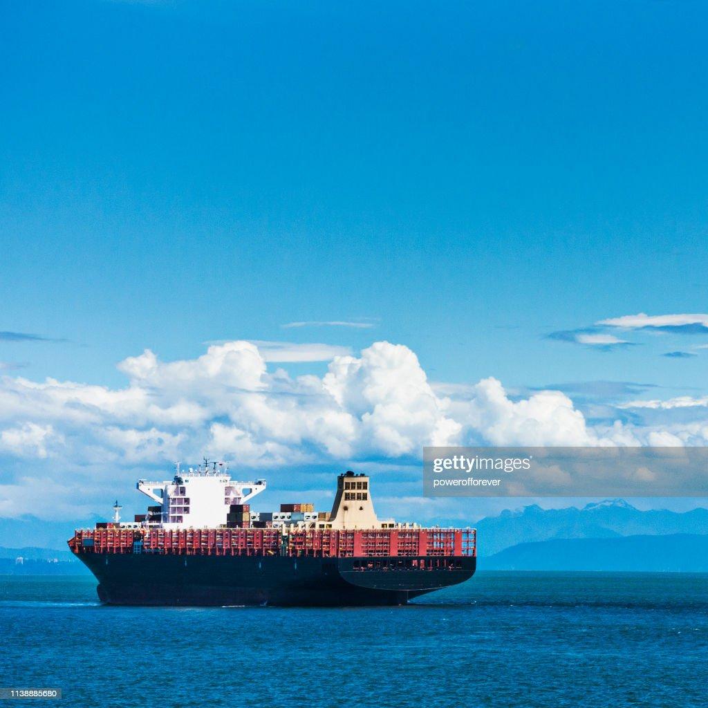 Ship on the Ocean Along the Coast of British Columbia, Canada : Stock Photo