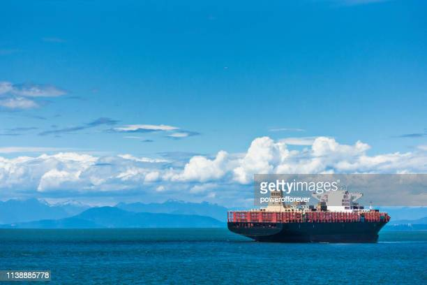 Ship on the Ocean Along the Coast of British Columbia, Canada