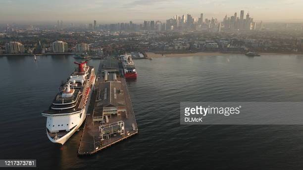 ship on the sea - carnival cruise stock pictures, royalty-free photos & images