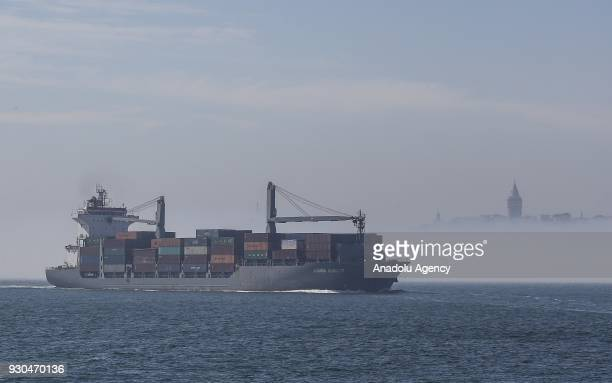 A ship passes through the Bosphorus during heavy fog in Istanbul Turkey on March 11 2018