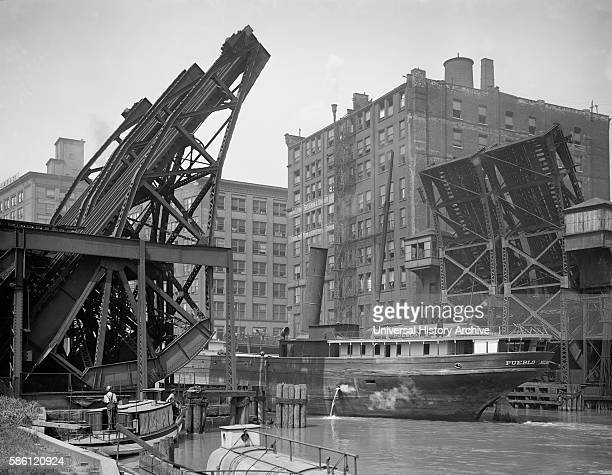 Ship Passing Through Jackknife Bridge Chicago Illinois USA circa 1907