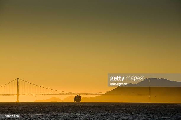 Ship Passing Under Golden Gate Bridge