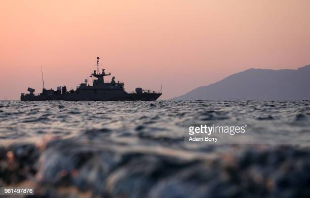 ship patrols the Aegean Sea passage between Greece and Turkey off the coast of the island of Lesbos on May 22 2018 near Efthalou Greece The Greek...