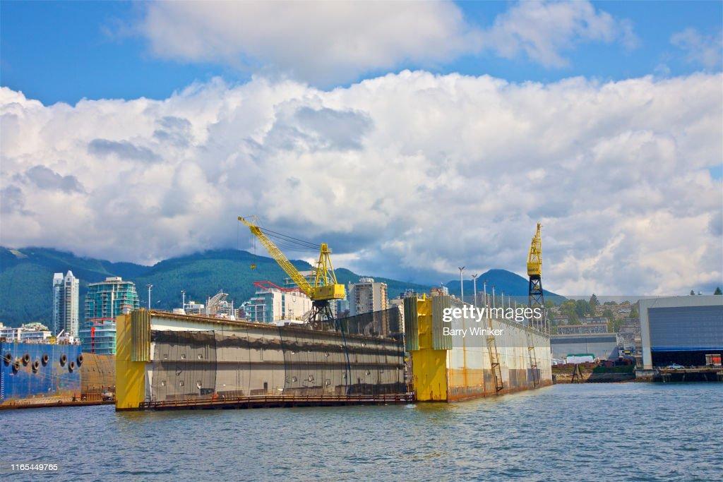 Ship repair dry dock, Vancouver, British Columbia : Stock Photo