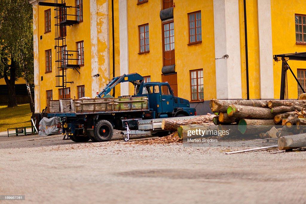 Ship repair station at Slupskjulsvägen : Stockfoto