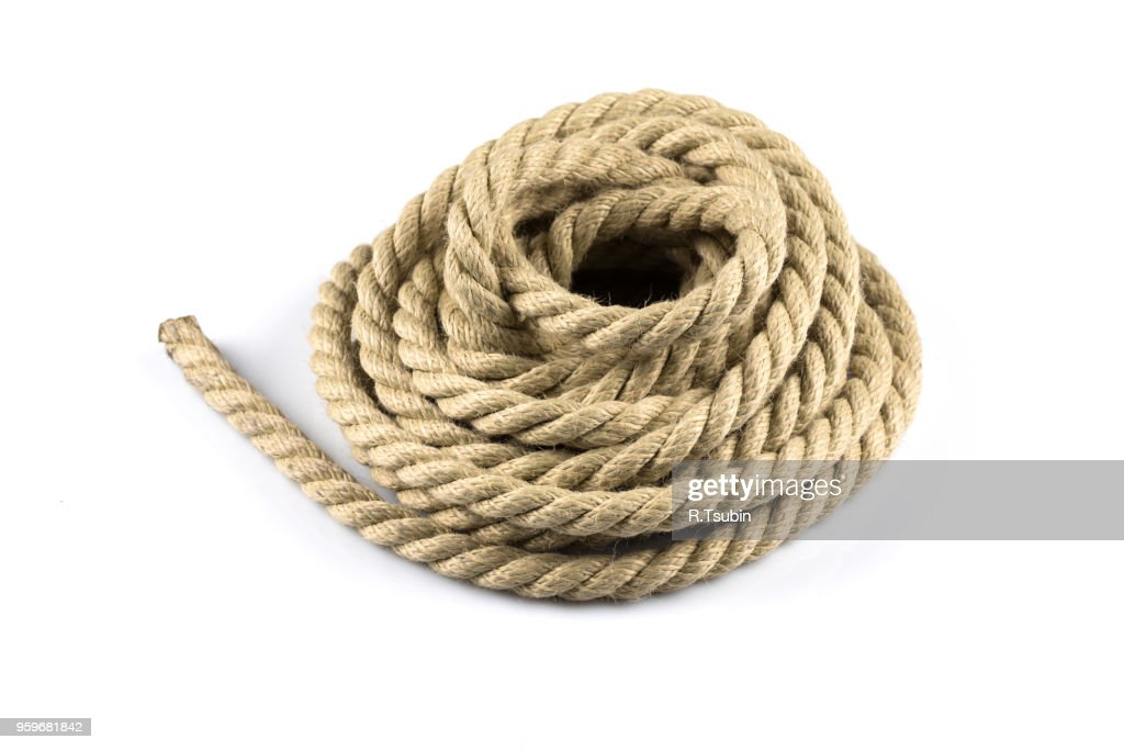 ship ropes with knot isolated background : Stock-Foto