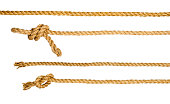 Ship ropes with knot isolated on white background