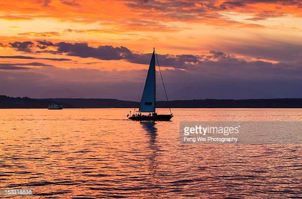 Ship Sailing In Puget Sound, Washington