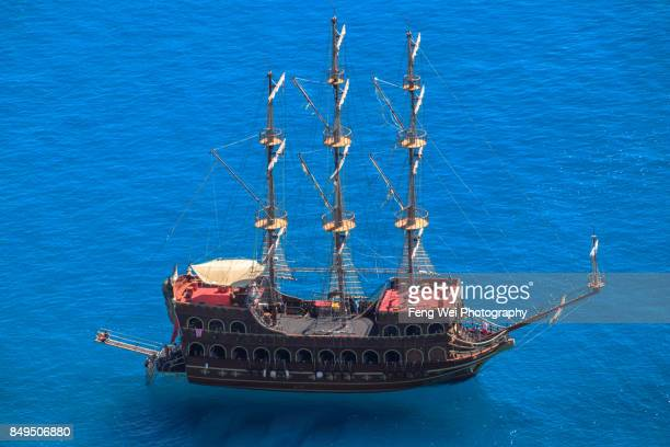 Ship Sailing On Mediterranean Sea, Alanya, Antalya, Turkey