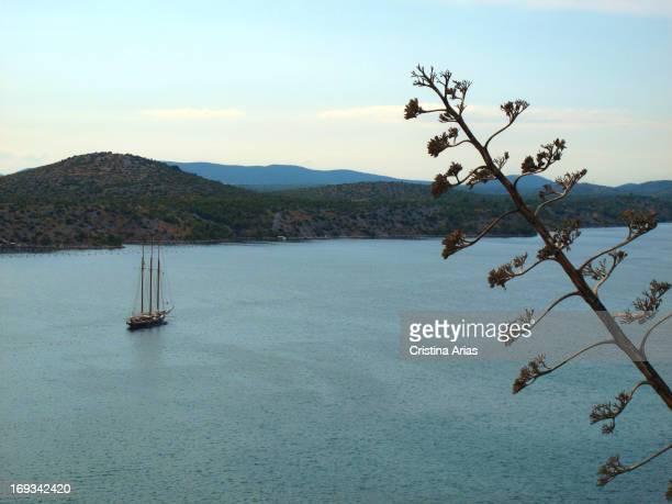 A ship sailing through the canal in Sibenik seen from the fort of San Michael Dalmatia Croatia July 2011