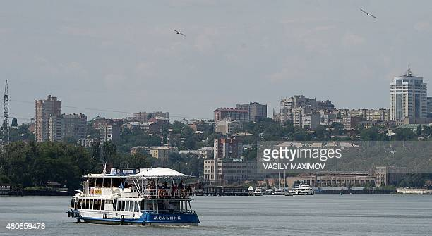 A ship sails on the Don river in the city of RostovonDon on July 14 2015 The city will host the 2018 Football World Cup from June 14 to July 15 2018...