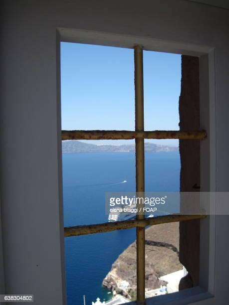Ship seen through window