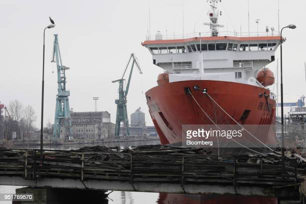 Ship sits at a mooring in the old port at Gdansk Shipyard where sits GSG Towers Sp. Z o.o. Factory, a unit of the Gdansk Shipyard Group, in Gdansk,...