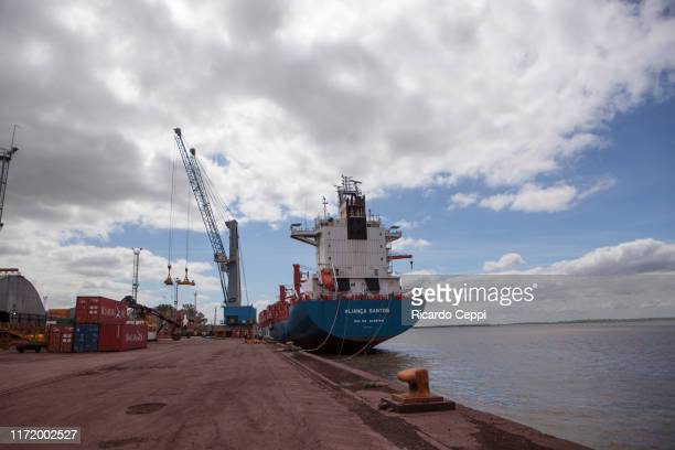 Ship sits moored at a dock in the Port of Rosario on September 25, 2015 in Rosario, Argentina.