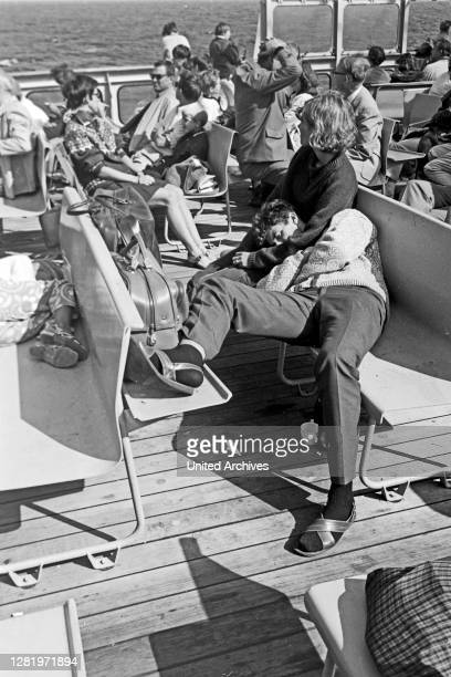 Ship travelers at the stern of Princess Christina while traveling to Gothenburg, Sweden, 1960s.