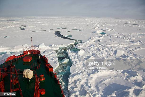 Ship trying to get through frozen Arctic Ocean