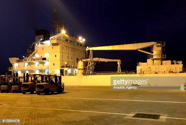 A ship which departed from Turkey and carrying approximately 4000 tons of food arrives at Hamad Port in Doha Qatar on July 07 2017 On 5th June Saudi...