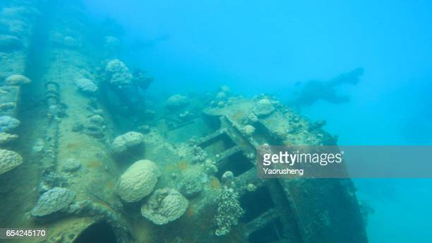 ship wreck in blue deep water,Palau