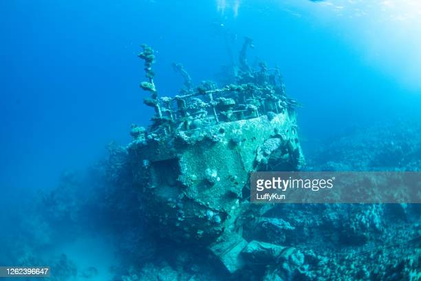ship wreck, underwater wreck, battleship wreck , fisher boat wreck - sunken stock pictures, royalty-free photos & images