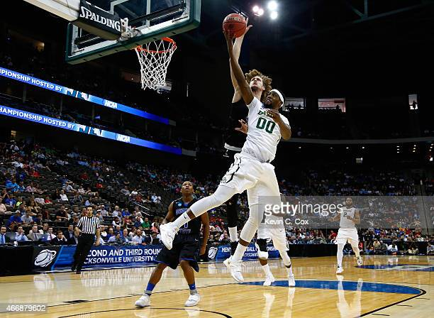 Shipes of the Georgia State Panthers blocks the shot of Royce O'Neale of the Baylor Bears in the first half during the second round of the 2015 NCAA...