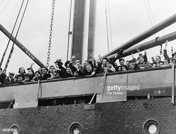 A shipload of Dutch and Belgian refugees arrive at a port in the west of England during World War II 20th May 1940