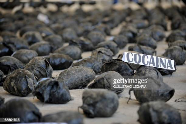 A shipment of 39 tons of cocaine seized in a large clandestine laboratory for the production of the drug during its presentation to the press on...