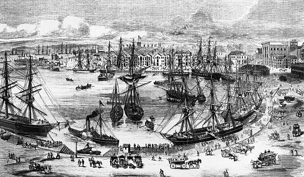 Shipping at Sydney Quayside, now Circular Quay, in...