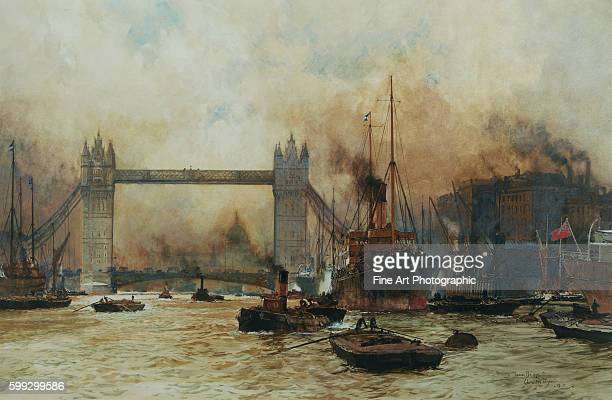 Shipping by Tower Bridge London England by Charles Dixon
