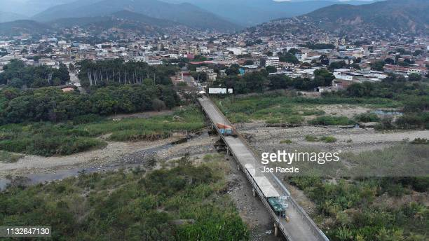 A shipping container and other items block the Simón Bolívar international bridge which connects Cúcuta with the Venezuelan town of San Antonio del...