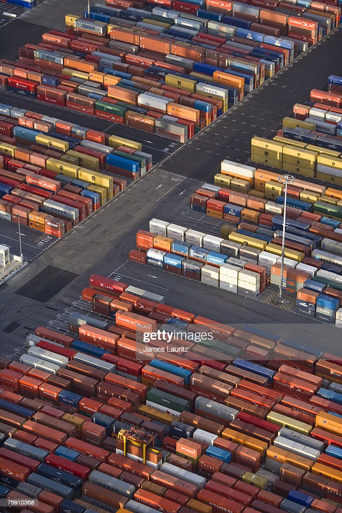 Perfect Shipping Container Storage Yard , Aerial View : Stock Photo