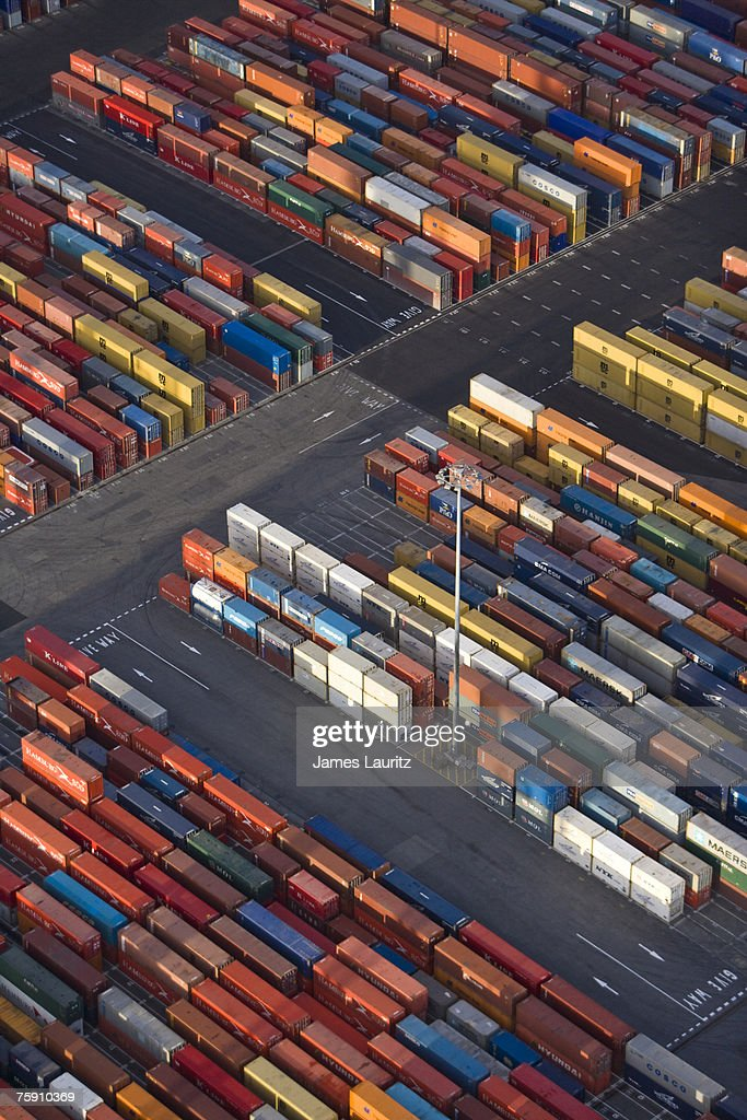 Shipping Container Storage Yard , Aerial View : Stock Photo