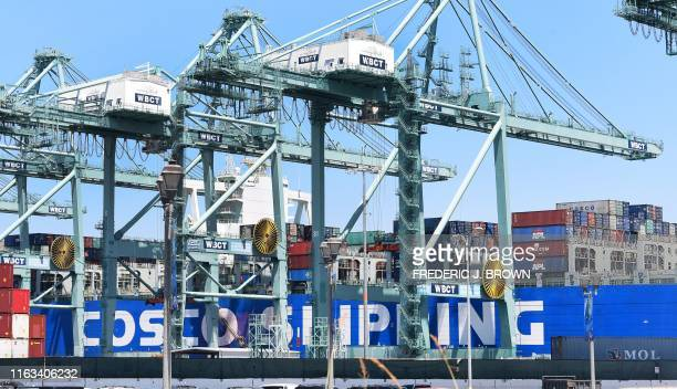 Shipping containers are seen on a Cosco Shipping vessel at the Port of Long Beach on August 23 2019 in Long Beach California President Donald Trump...