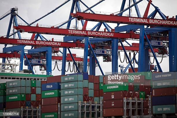 Shipping containers are seen stacked on a ship at the HHLA Terminal Burchardkai at the Port of Hamburg in Hamburg Germany on Thursday Sept 1 2011...
