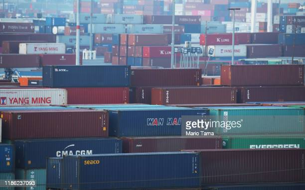 Shipping containers are stacked at the Port of Los Angeles the nation's busiest container port on November 7 2019 in San Pedro California Port...
