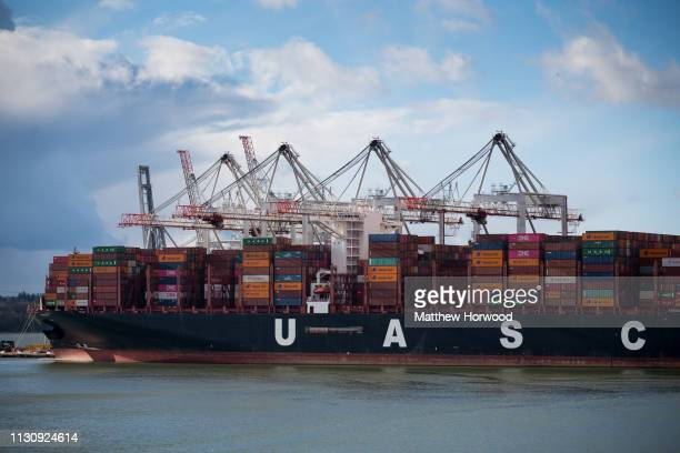 Shipping containers at the Port of Southampton on February 10 2019 in Southampton England The Port of Southampton is a passenger and cargo port in...
