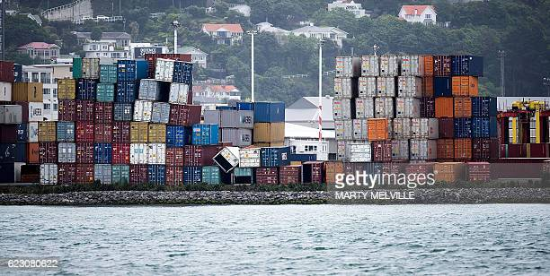 Shipping containers lay on their sides at the centerpoint container terminal in Wellington after a 78 earthquake struck the South Island on November...