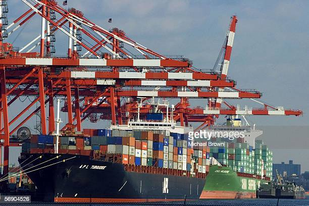 Shipping containers lie stacked on a ship docked at the Port Newark Container Terminal, the third-largest cargo terminal in New York harbor on...