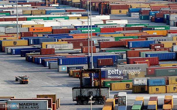 Shipping containers owned by AP MoellerMaersk A/S and China COSCO Holdings Co Ltd stand at Piraeus Port operated by Piraeus Port Authority SA in...